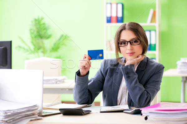 Female financial manager working in the office Stock photo © Elnur