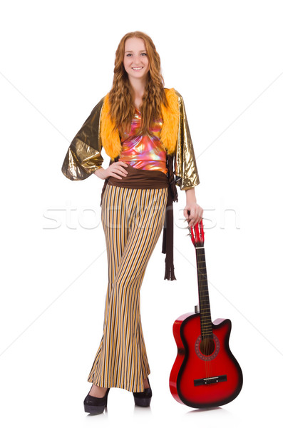 Young girl with guitar on white Stock photo © Elnur