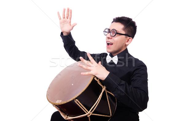 面白い 男 ドラム 白 手 楽しい ストックフォト © Elnur