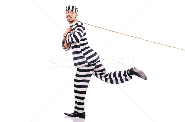 Stock photo: Convict criminal in striped uniform