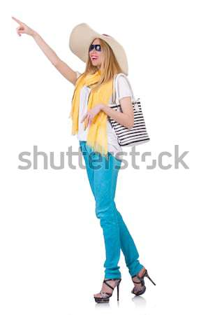 Stock photo: Young girl with colourful clothing on white