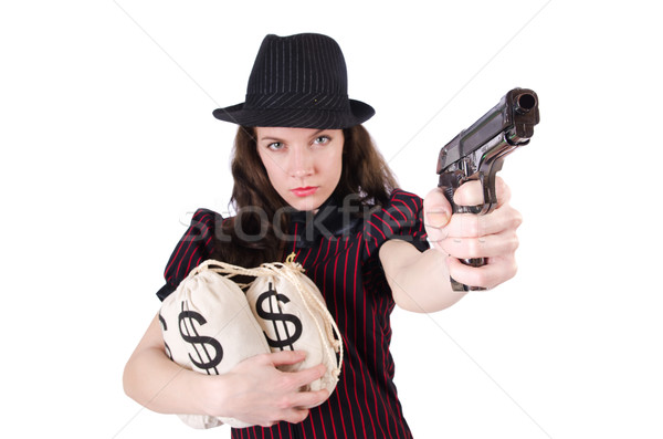 Stock photo: Woman gangster with gun and money