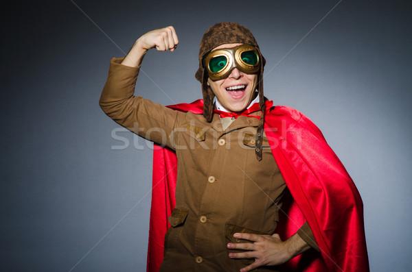 Engraçado piloto óculos de proteção capacete homem moda Foto stock © Elnur
