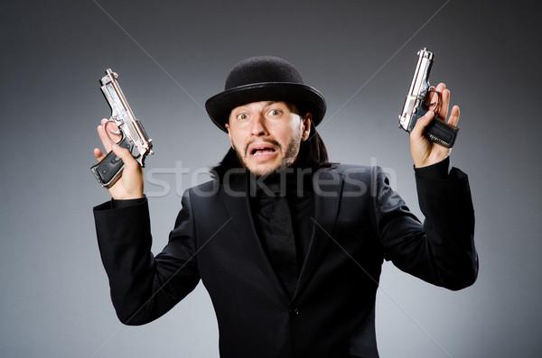 Adam bağbozumu şapka tabanca iş Stok fotoğraf © Elnur