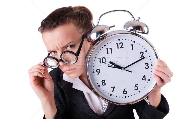 Foto stock: Mulher · empresária · estresse · desaparecido · prazos · relógio