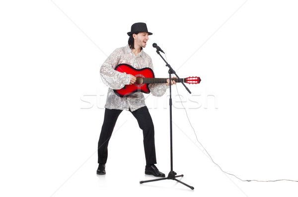 Man playing guitar and singing isolated on white Stock photo © Elnur