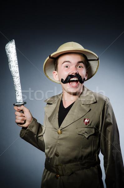 человека Safari Hat охота меч игры Сток-фото © Elnur