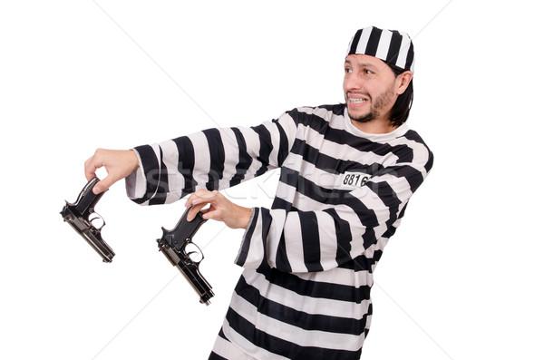 Prisão internado pistola isolado branco mão Foto stock © Elnur