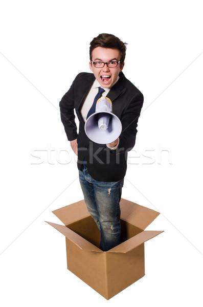 Homme haut-parleur boîte affaires bureau travaux Photo stock © Elnur