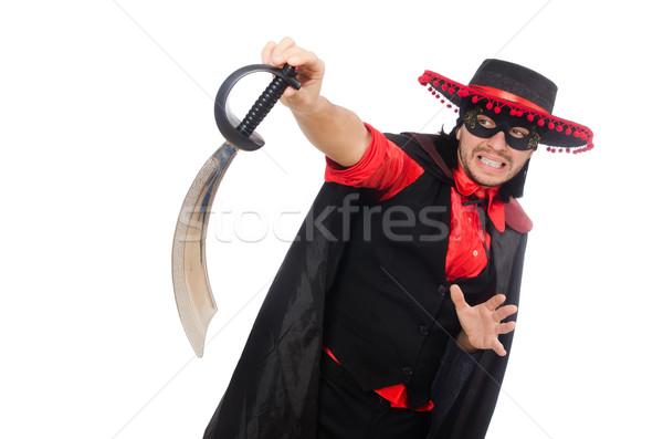 молодым человеком карнавальных пальто меч изолированный белый Сток-фото © Elnur