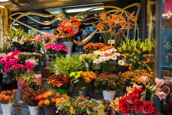 Utca virágüzlet színes virágok rózsa város Stock fotó © Elnur
