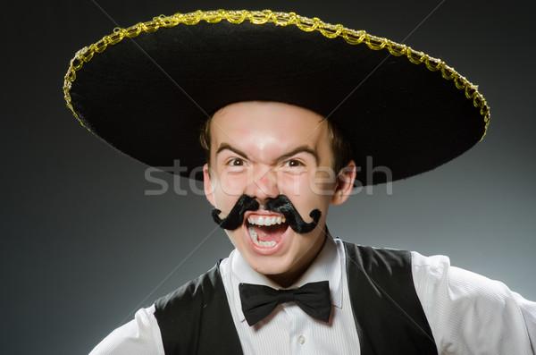 Gülen Meksika geniş kenarlı şapka yalıtılmış beyaz gülümseme Stok fotoğraf © Elnur