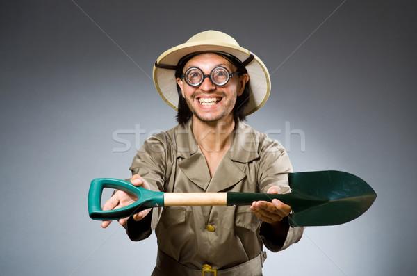Funny safari hunter pistolet osoby gry Zdjęcia stock © Elnur