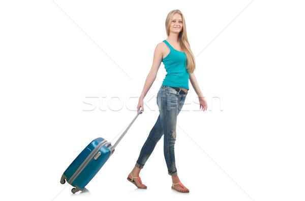 Viaggio vacanze bagaglio bianco donna ragazza Foto d'archivio © Elnur