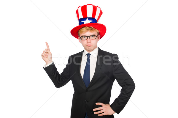 Businessman with american hat isolated on white Stock photo © Elnur