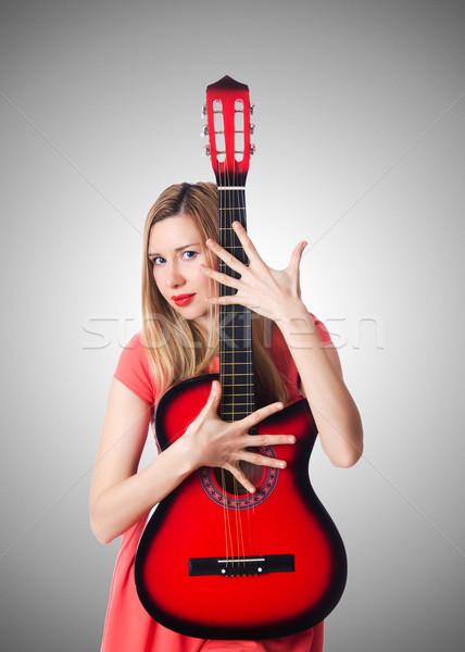Női gitáros gradiens nő zene buli Stock fotó © Elnur