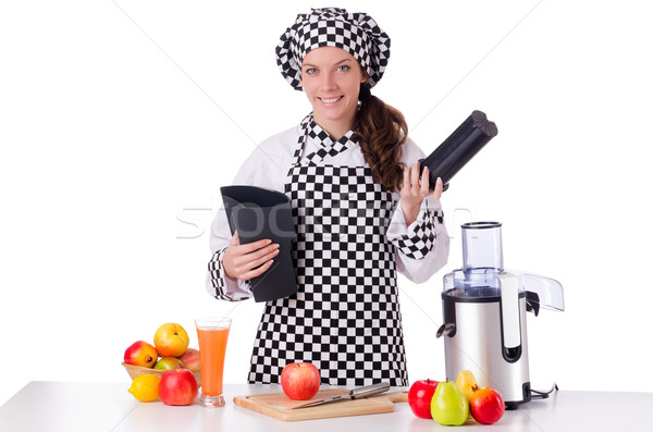 Female chef with fruits isolated on white Stock photo © Elnur