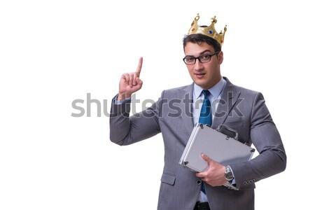 Funny Geschäftsmann Aktentasche isoliert weiß Business Stock foto © Elnur