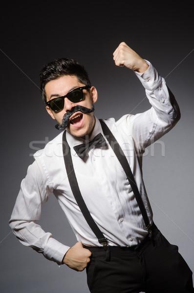 Moço falso bigode isolado cinza modelo Foto stock © Elnur