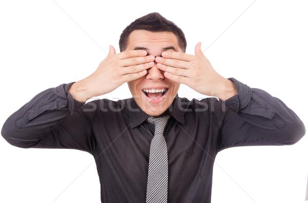 Fiatal mosolyog férfi csukott szemmel izolált fehér Stock fotó © Elnur