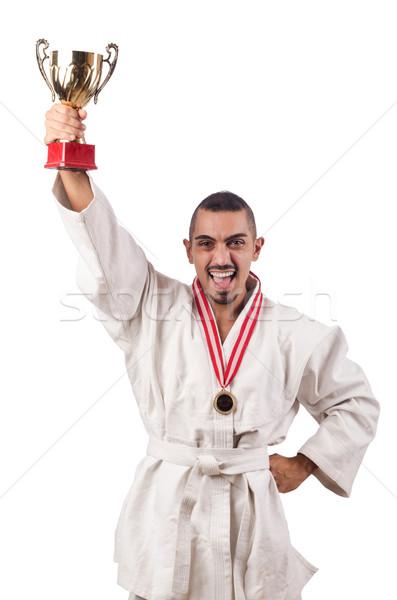 смешные каратэ истребитель Кубок белый человека Сток-фото © Elnur