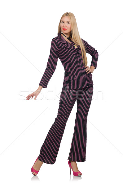 Pretty girl in purple retro suit isolated on white Stock photo © Elnur