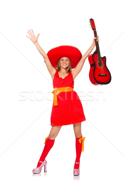 Woman with sombrero playing guitar on white Stock photo © Elnur