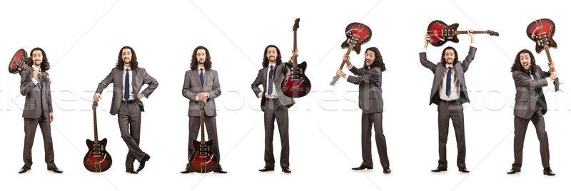 Stock fotó: Vicces · gitáros · izolált · fehér · zene · buli