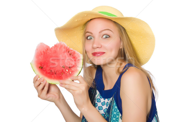 Woman with watermelon isolated on white Stock photo © Elnur