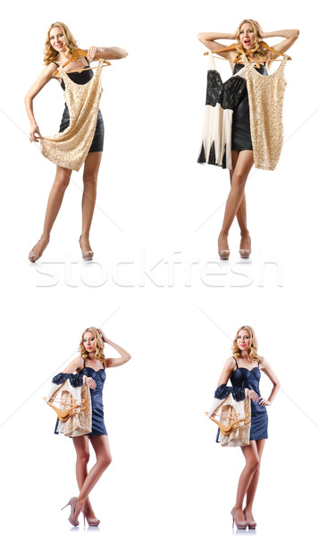 Set of photos with woman trying new clothing Stock photo © Elnur