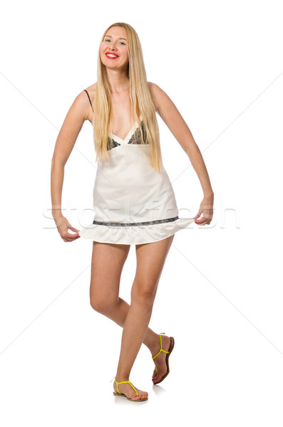 Young caucasian woman in sundress isolated on white Stock photo © Elnur