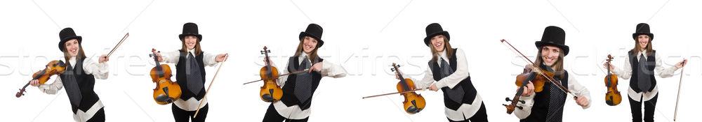 Stock fotó: Nő · hegedű · játékos · izolált · fehér · fa