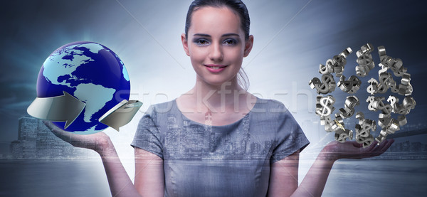 Businesswoman with dollars in business concept Stock photo © Elnur