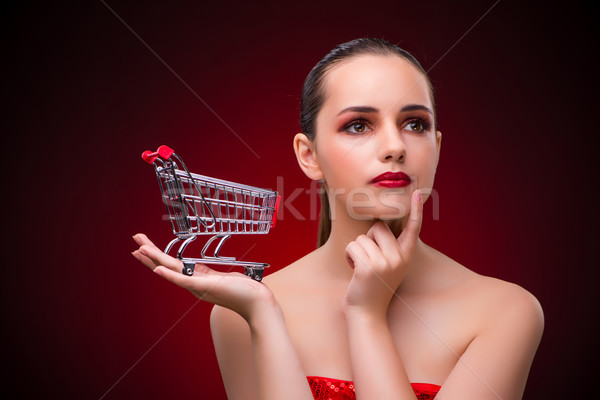 Young woman with shopping cart Stock photo © Elnur