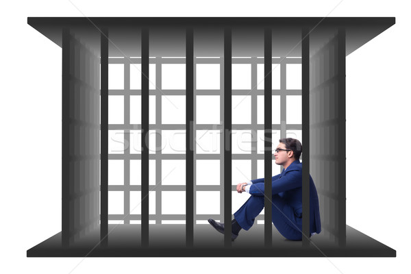 The businessman in the cage isolated on white Stock photo © Elnur
