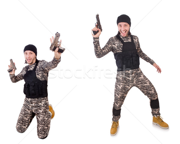 Soldier with gun isolated on white Stock photo © Elnur