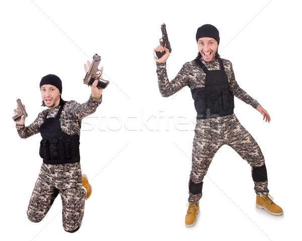солдата пушки изолированный белый стороны человека Сток-фото © Elnur