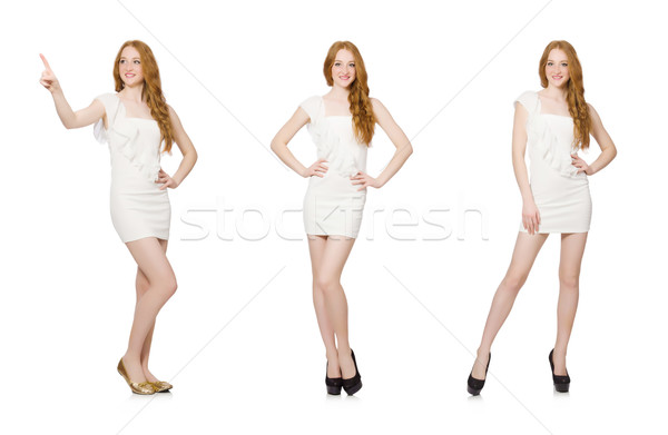Mulher virtual botão isolado branco Foto stock © Elnur