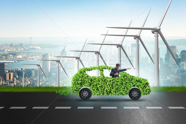 Electric car concept with windmills Stock photo © Elnur