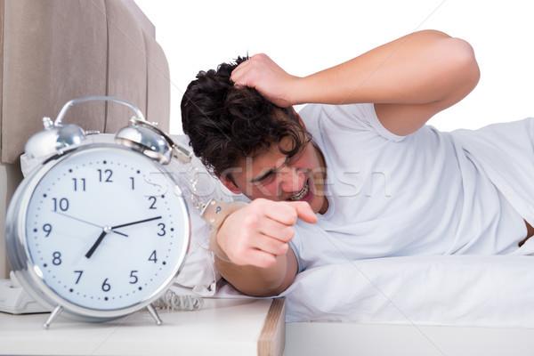 Uomo letto sofferenza insonnia tempo sonno Foto d'archivio © Elnur