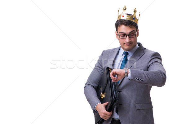 Rey empresario aislado blanco reloj trabajo Foto stock © Elnur