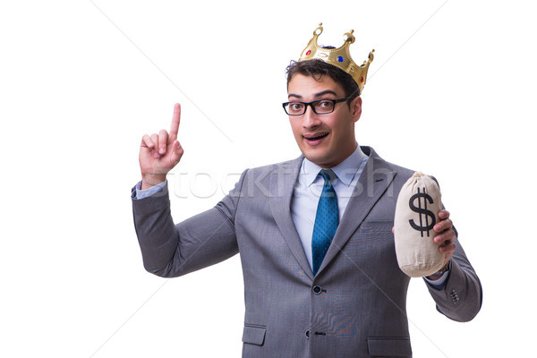 King businessman holding money bag isolated on white background Stock photo © Elnur
