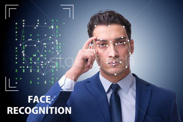 Man in face recognition concept Stock photo © Elnur