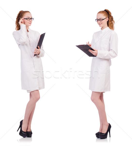молодые медик говорить ячейку изолированный белый Сток-фото © Elnur
