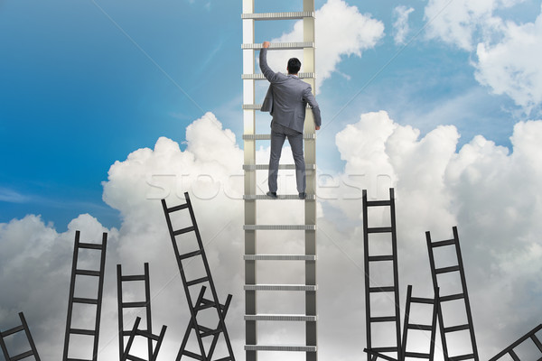 ストックフォト: キャリア · ビジネスマン · 登山 · はしご · 男 · 執行