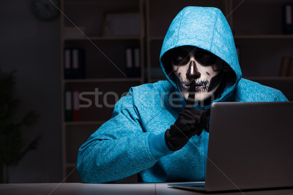 Scary hacker hacking security firewall late in office Stock photo © Elnur