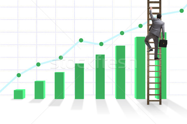 Businessman climbing towards growth in statistics Stock photo © Elnur