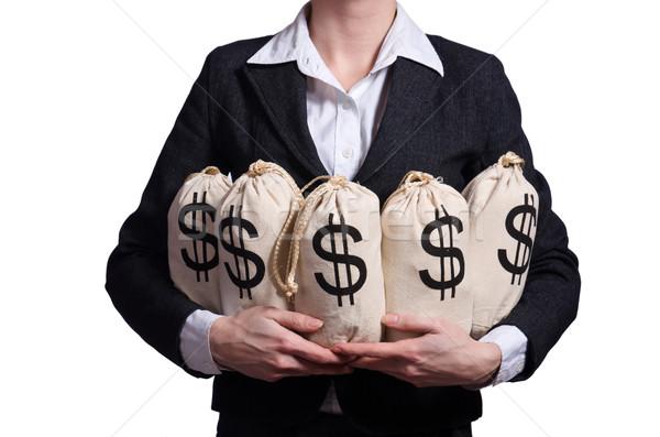 Сток-фото: женщину · деньги · белый · бизнеса · служба · лице