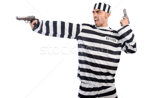 Prisoner with gun isolated on white Stock photo © Elnur