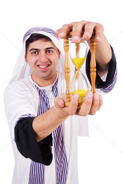 Arabes homme pense passage temps horloge Photo stock © Elnur